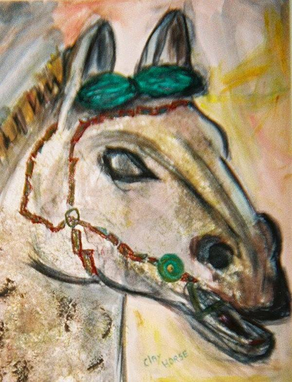 Horse Poster featuring the painting Clay Horse by JuneFelicia Bennett