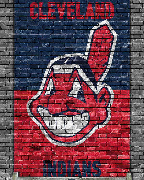 Indians Poster featuring the painting Cleveland Indians Brick Wall by Joe Hamilton