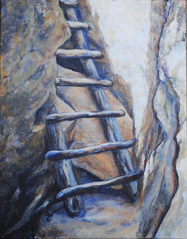 Mesa Verde Poster featuring the painting Cliff Palace Ladder by M Schaefer