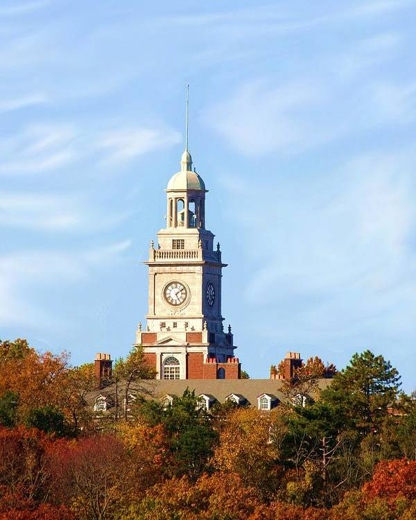 Architecture Poster featuring the greeting card Clock Tower 2 by Jim Darnall