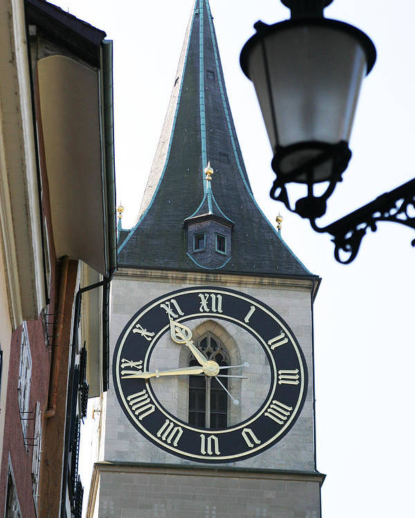 Lamp Post Poster featuring the photograph Clock Tower In Frankfurt In Germany by Carl Purcell