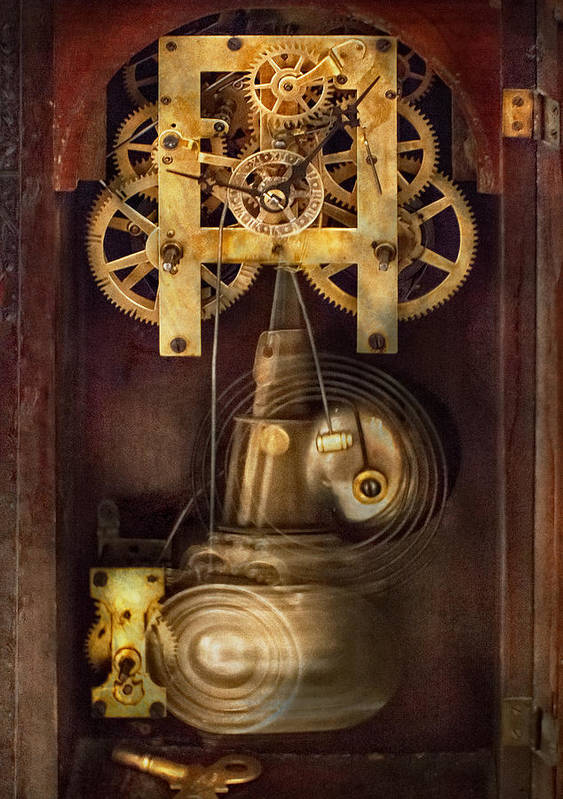 Suburbanscenes Poster featuring the photograph Clockmaker - The Mechanism by Mike Savad