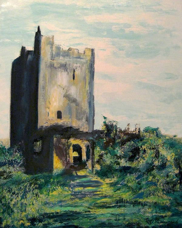 Clonony Castle Poster featuring the painting Clonony Castle by Richard Beauregard