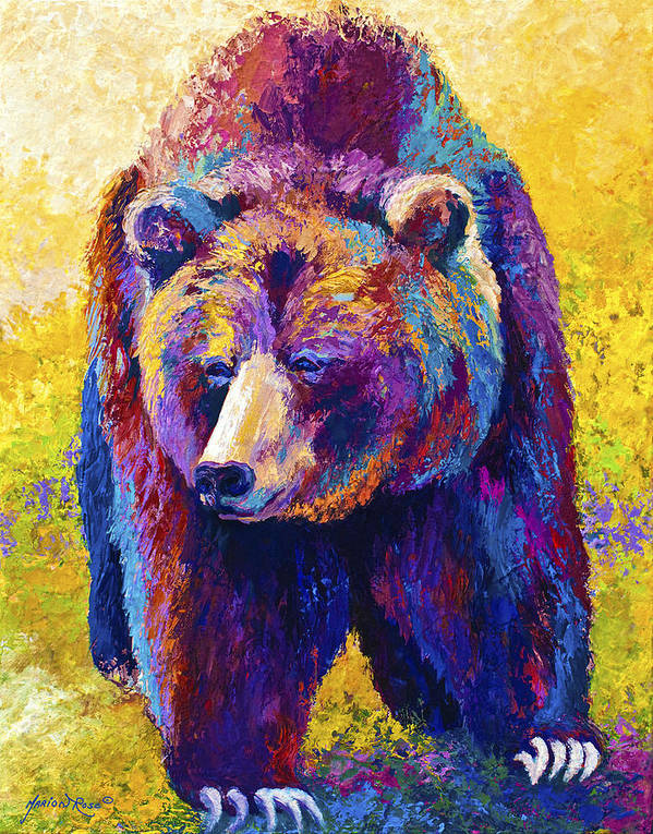 Western Poster featuring the painting Close Encounter - Grizzly Bear by Marion Rose