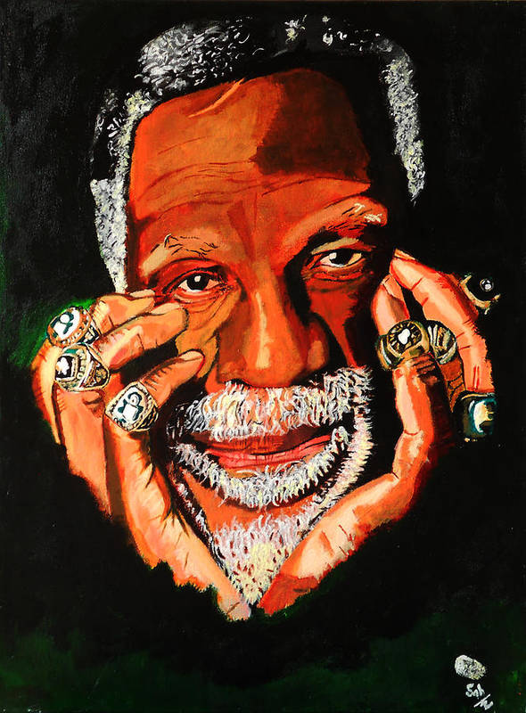 Bill Russell Poster featuring the painting Cloud Eleven - Bill Russell by Saheed Fawehinmi