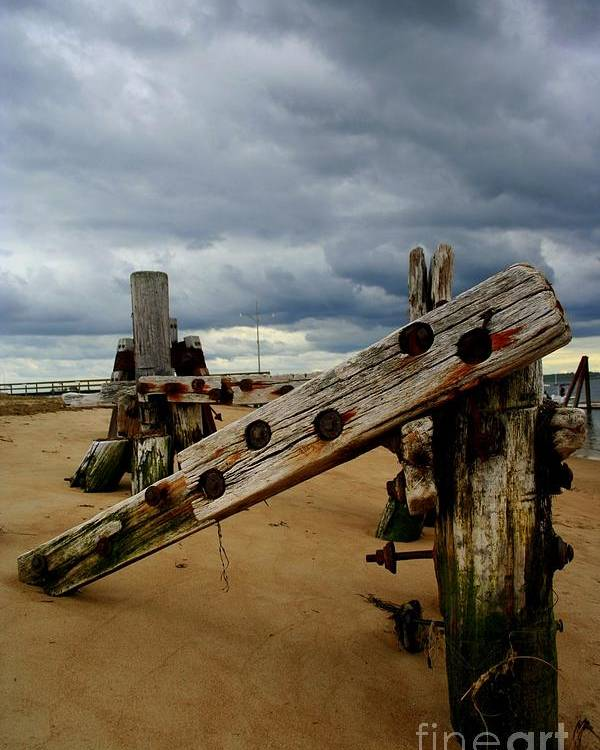 Plum Island Poster featuring the photograph Clouds And Wooden Structure by John Kenealy