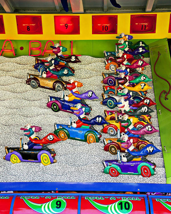 Clown Car Racing Game Carnival Poster featuring the photograph Clown Car Racing Game by Garry Gay