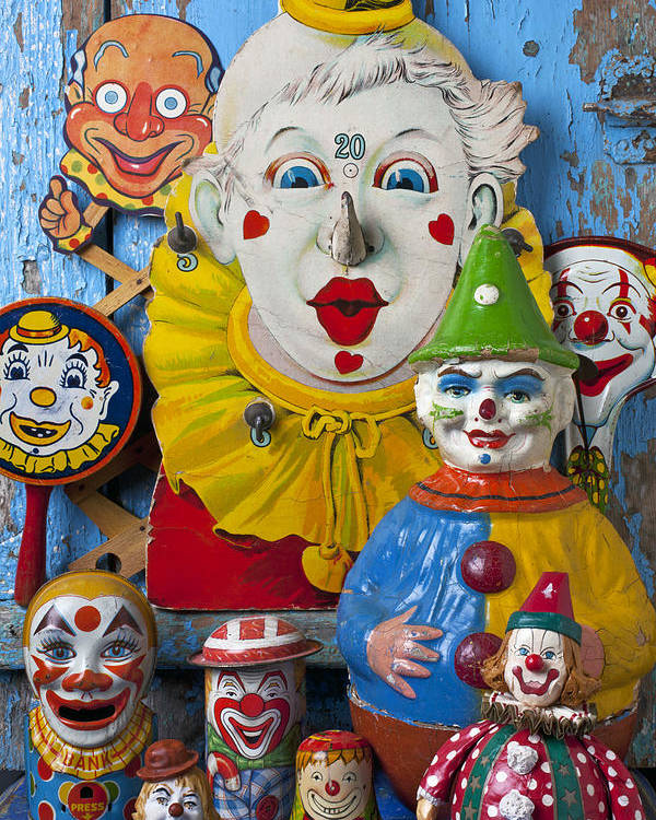 Clown Toys Face Antiques Playthings Poster featuring the photograph Clown Toys by Garry Gay