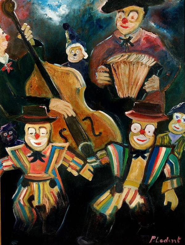Clowns Circus Poster featuring the print Clowns by Pol Ledent