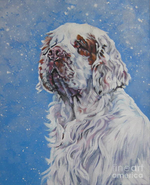 Clumber Spaniel Poster featuring the painting Clumber Spaniel In Snow by Lee Ann Shepard
