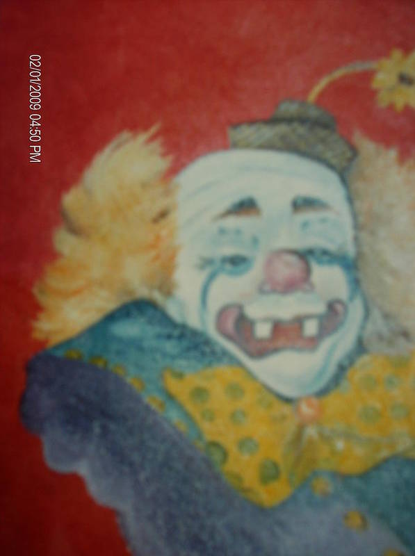 Clown Poster featuring the painting Clyde by Terry Lash