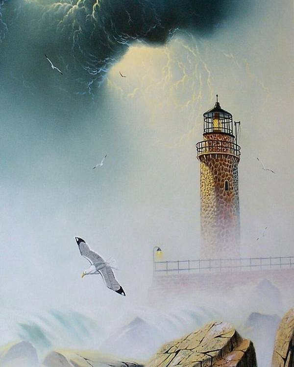 Lighthouse Poster featuring the painting Coastal Light by Don Griffiths