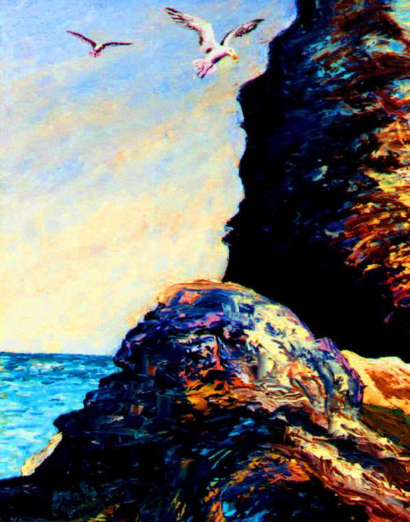 Coastal Rocks Poster featuring the painting Coastal Rocks by Ston Hamilton