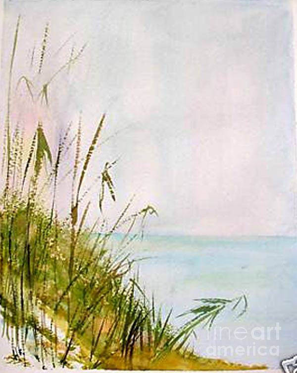 Watercolor Poster featuring the painting Coastal Scene by Sibby S