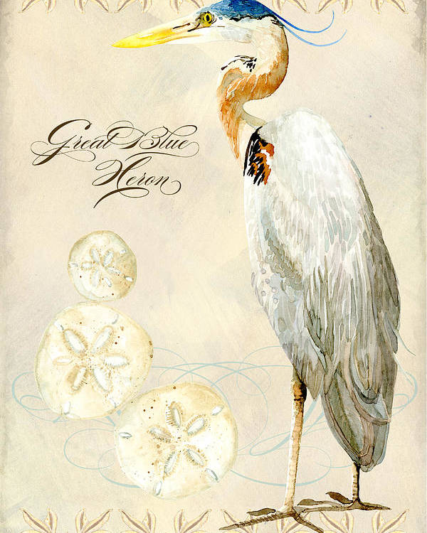 Watercolor Poster featuring the painting Coastal Waterways - Great Blue Heron by Audrey Jeanne Roberts