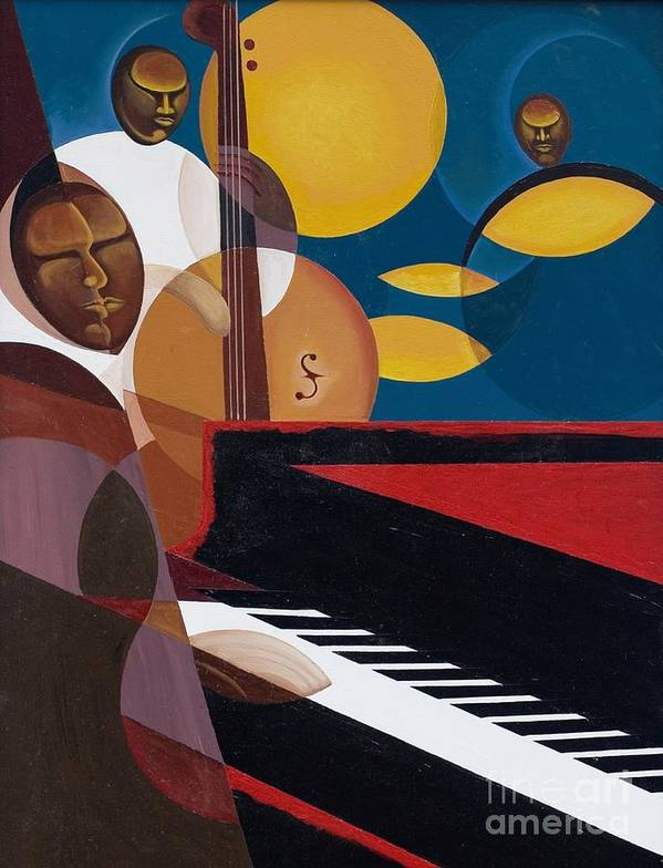 Kaaria Poster featuring the painting Cobalt Jazz by Kaaria Mucherera