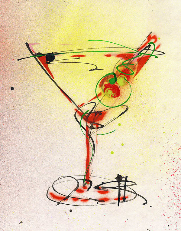 Martini Poster featuring the painting Cocktail #6 by Ryan Hopkins