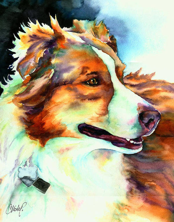 Dog Poster featuring the painting Cocoa Lassie Collie Dog by Christy Freeman