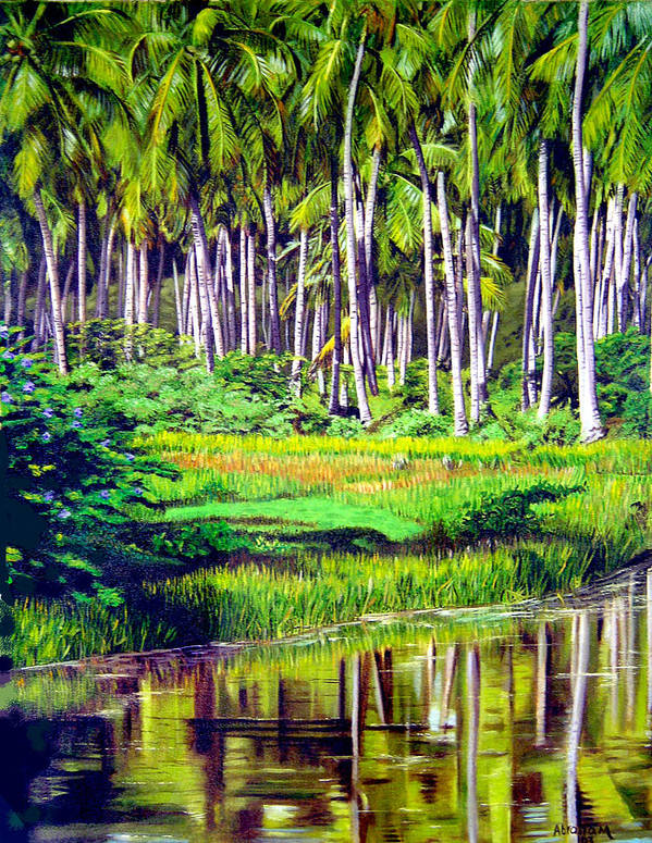 Coconuts Water River Green Art Tropical Poster featuring the painting Coconuts Trees by Jose Manuel Abraham