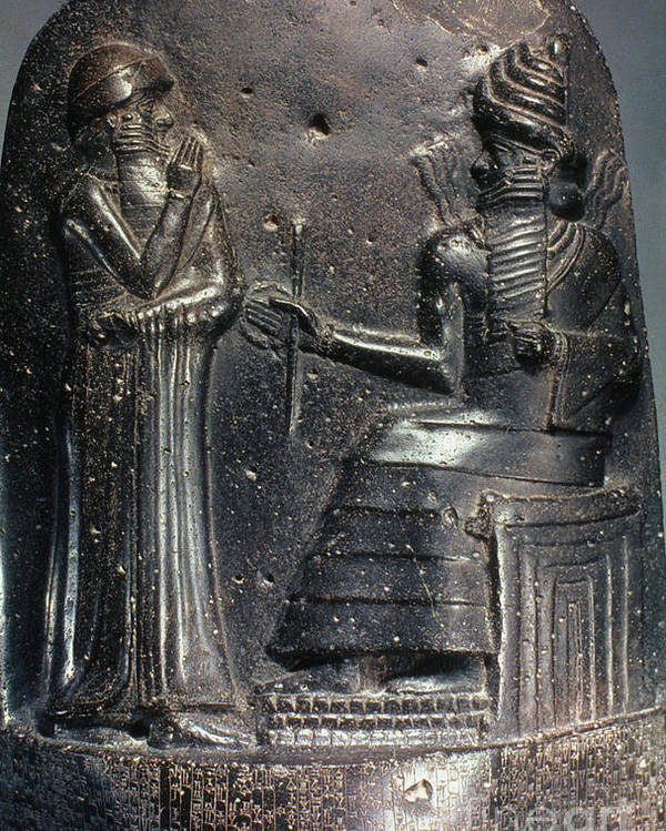 18th Century B.c. Poster featuring the photograph Code Of Hammurabi. by Granger