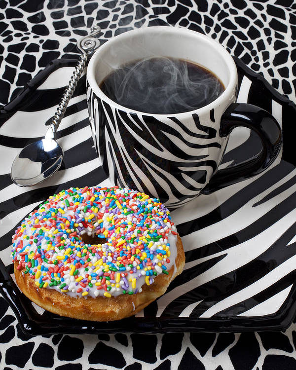 Coffee Donuts Poster featuring the photograph Coffee And Donut On Striped Plate by Garry Gay