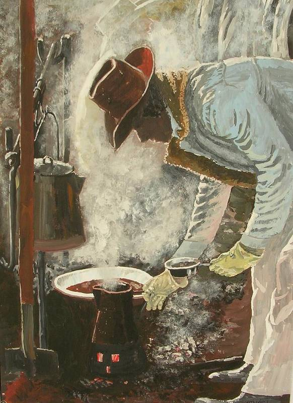 Western/cowboy Poster featuring the painting Coffee Break by Janos Szatmari