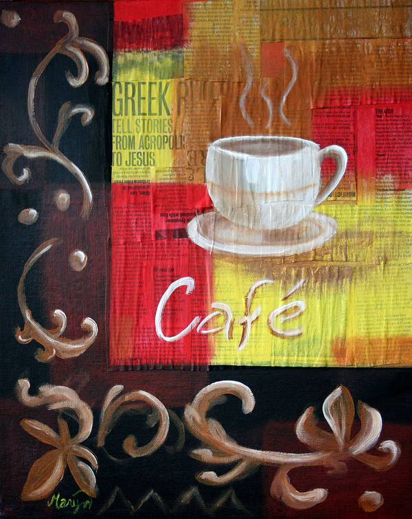 Coffee Poster featuring the painting Coffee by Maryn Crawford