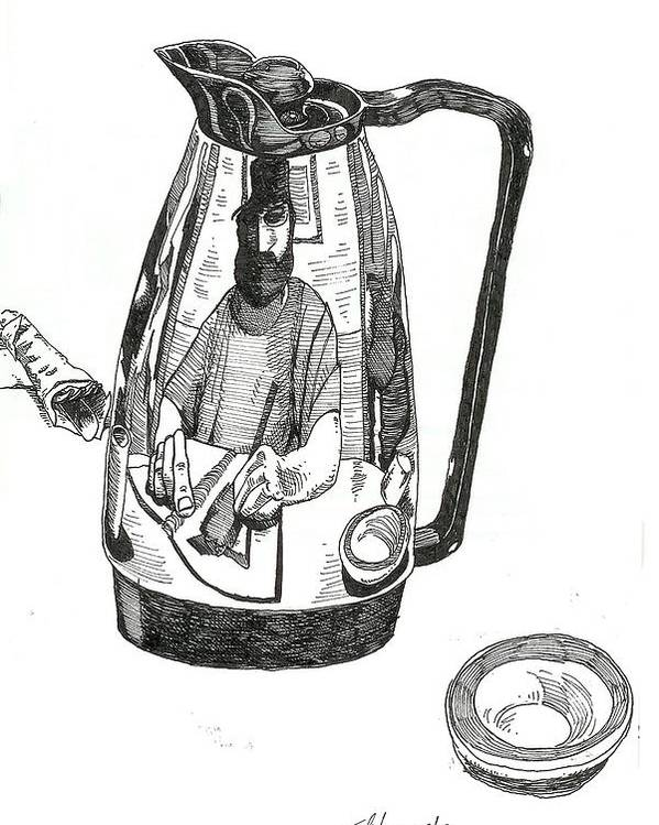Pen And Ink Poster featuring the drawing Coffee Pot by Tobey Anderson