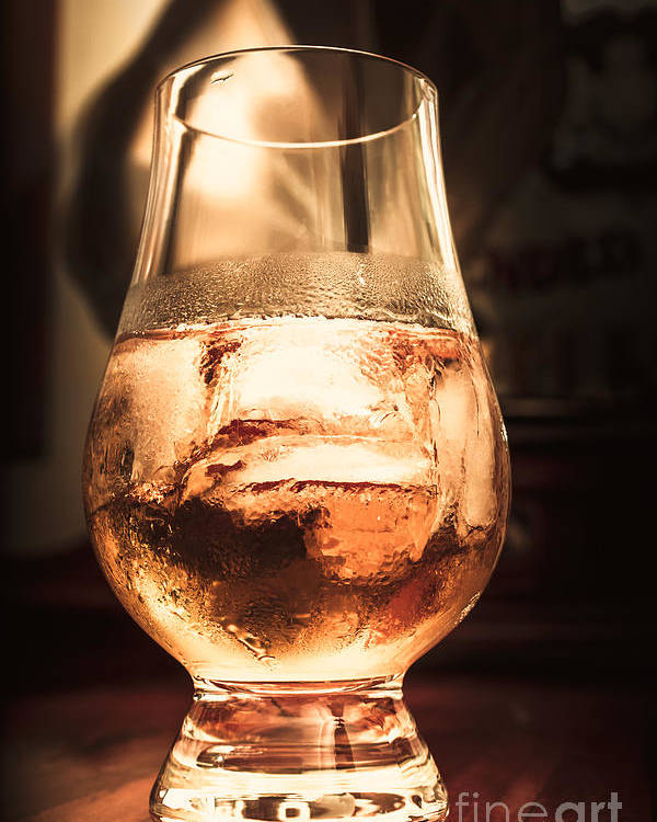 Glass Poster featuring the photograph Cognac Glass On Bar Counter by Jorgo Photography - Wall Art Gallery