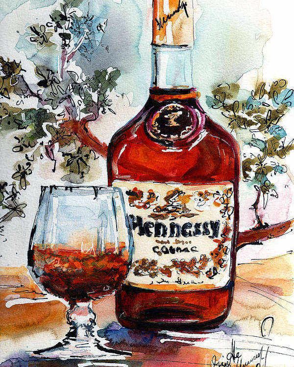 Cognac Poster featuring the painting Cognac Hennessy Bottle And Glass Still Life by Ginette Callaway