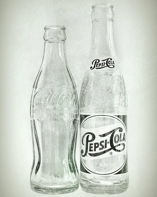 Terry D Photography Poster featuring the photograph Coke Or Pepsi Black And White by Terry DeLuco