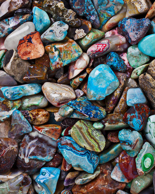 Stone Poster featuring the photograph Colored Polished Stones by Garry Gay