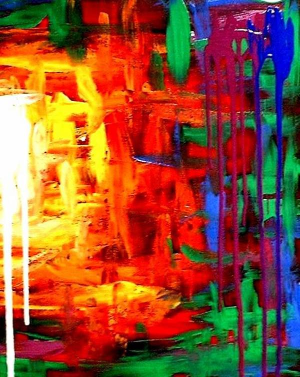 Colorful Poster featuring the painting Colorful Abstract2of2 by Teo Alfonso
