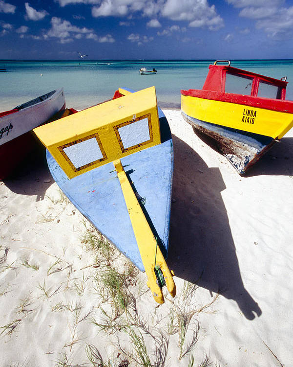 Antilles Poster featuring the photograph Colorful Boats On Eagle Beach Aruba by George Oze