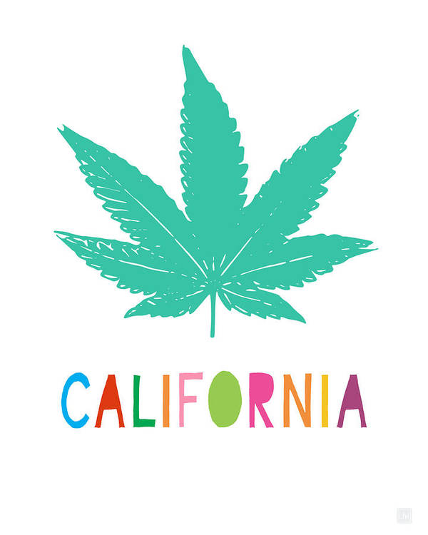 California Poster featuring the mixed media Colorful California Cannabis- Art By Linda Woods by Linda Woods