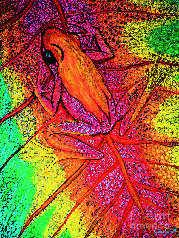 Colorful Frog On Leaf Poster featuring the digital art Colorful Frog On Leaf by Nick Gustafson