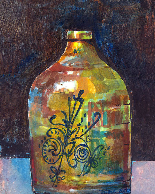 Jug Poster featuring the painting Colorful Jug by Arline Wagner