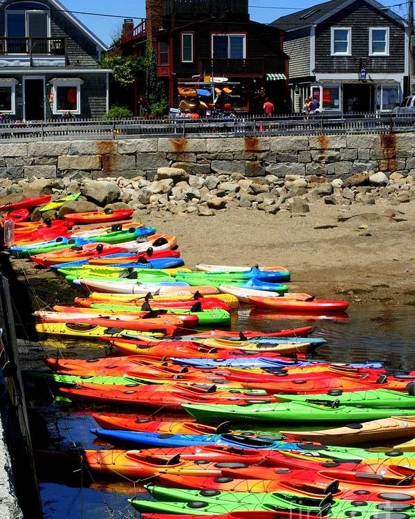 Rockport Poster featuring the photograph Colorful Kayaks by John Kenealy