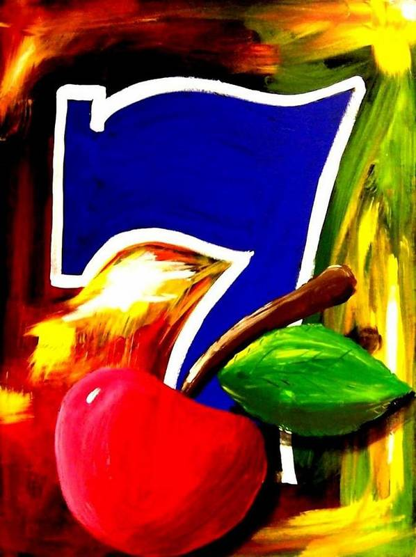 Slot Machine Poster featuring the painting Colorful Lucky Seven Slot Machine Casino Decor With Cherry by Teo Alfonso