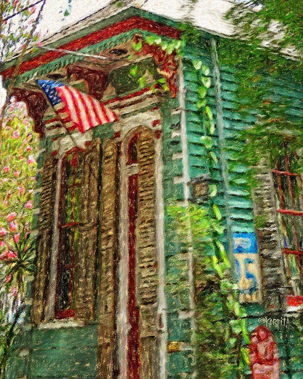 Colorful New Orleans Shotgun House American Flag Poster By Rebecca