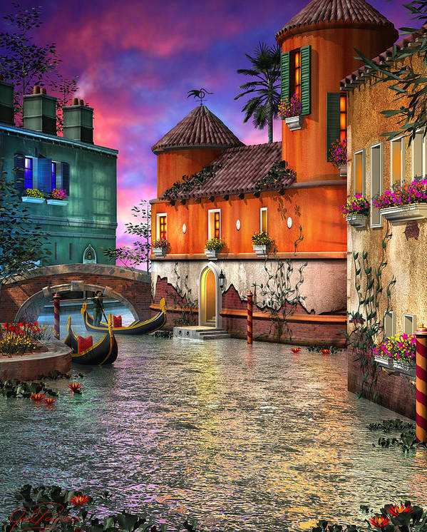 Venice Poster featuring the digital art Colors Of Venice by Joel Payne