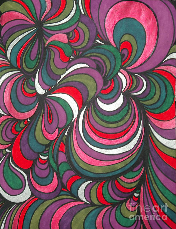 Abstract Poster featuring the drawing Colorway 5 by Ramneek Narang