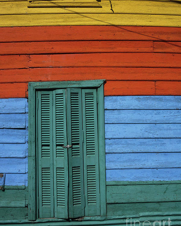Buenos Aires Poster featuring the photograph Colourful Shutters La Boca Buenos Aires by James Brunker