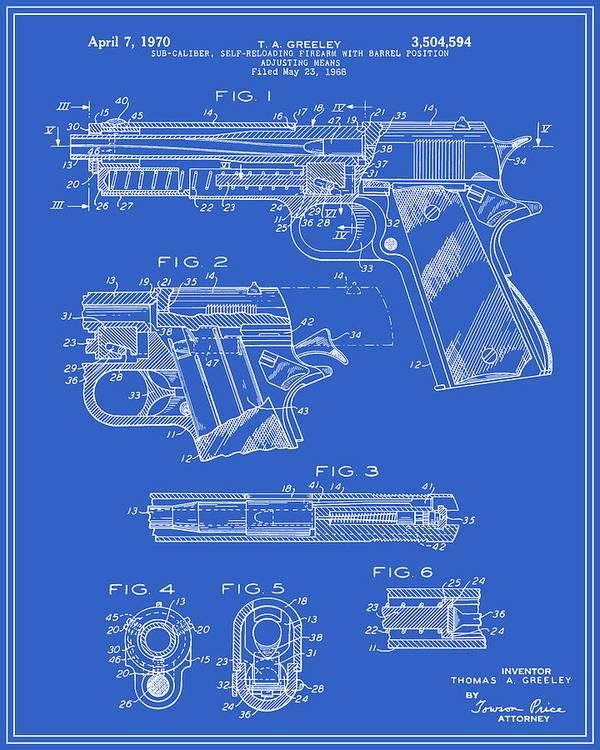 Colt 1911 Handgun Patent - Blueprint Poster Handgun Schematics And Diagrams on