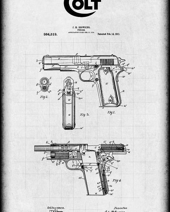 Awesome Colt Model 1911 Browning Automatic Pistol Patent 1911 Poster By Wiring Cloud Hisonuggs Outletorg