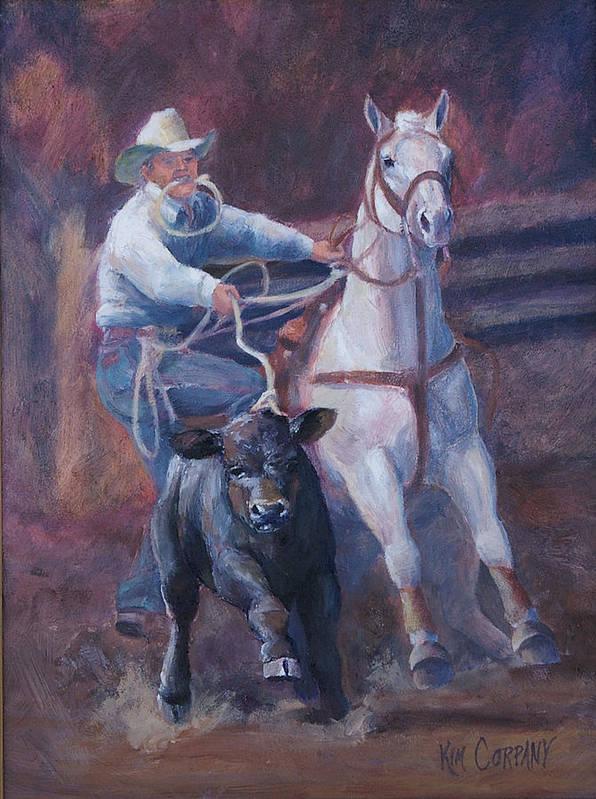 Calf Poster featuring the painting Comin At Ya   Calf Roping Painting by Kim Corpany