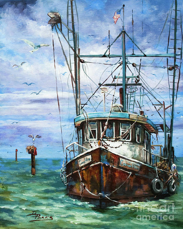 Shrimp Boat Poster featuring the painting Coming Home by Dianne Parks