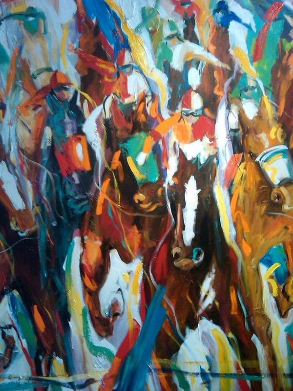 Race Track Poster featuring the painting Coming Up Green by Heather Roddy