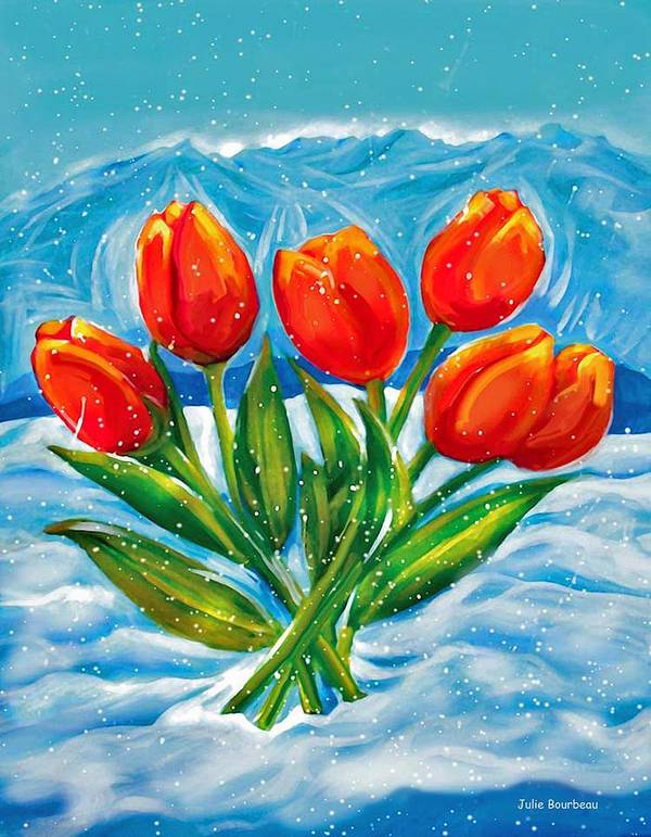 Tulips Poster featuring the painting Coming Up by Julie Bourbeau