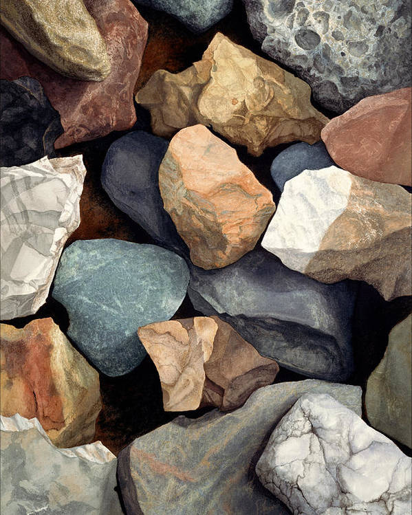 Stones Poster featuring the painting Common Stone by Craig Gallaway
